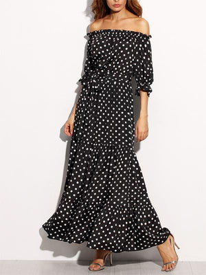 Sexy Off Shoulder Polka Dot Printed Big Pendulum Dress