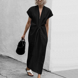 Unique V Collar Plain Belted Slit Cotton Maxi Dress