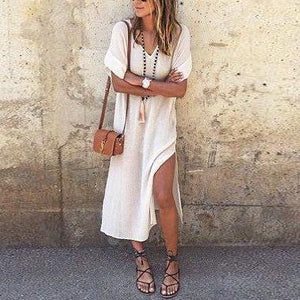 Solid Color V-Neck Hem Short Sleeve Split Dress