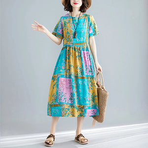 Casual Round Neck Short Sleeve Floral Plait Printed Maxi Dress