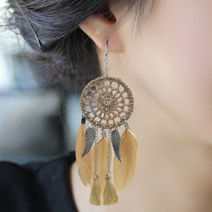 Vintage Ethnic Style 6 Color Feather Tasseled Earrings Accessories
