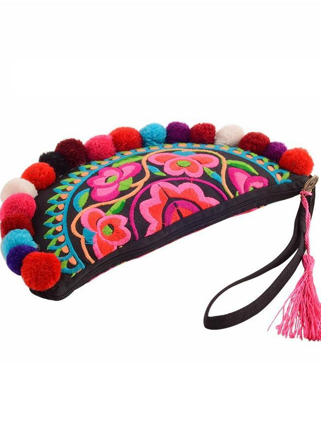 Ethnic Style Semicircle Embroidered Pom Small Handbag Purse - Voguetide