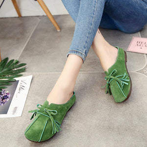 Soft Leather Slip On Lazy Portable Comfortable Flat Loafers For Women