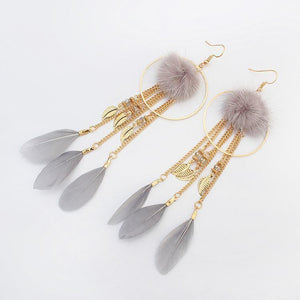 Bohemian Exaggerated Feather Shape Fringe Pierced Earrings - Voguetide