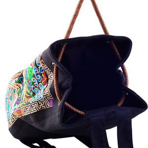 Ethnic Drawstring Embroidery Canvas Shoulder Bag Backpacks