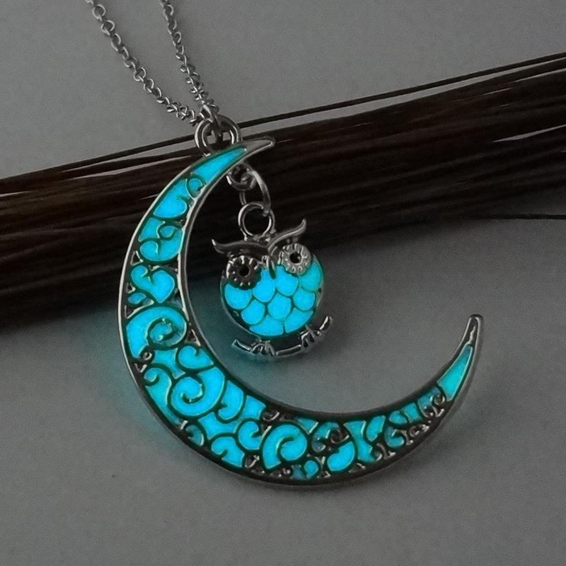 Moon Owl Glow in Dark Pendant Necklace