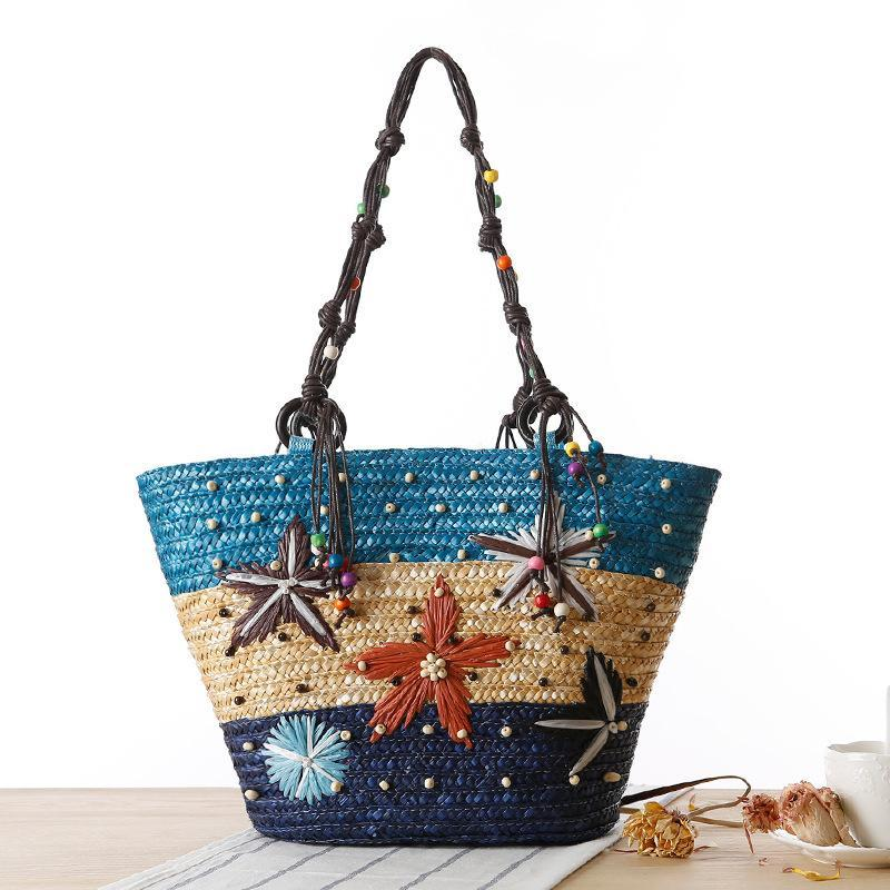 Bohemia Starfish Embroidery Seaside Holiday Beach Straw Shoulder Bag - Voguetide