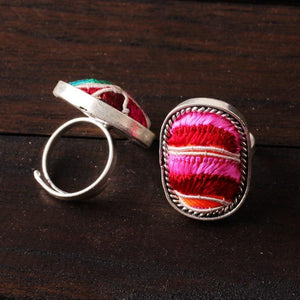 Unique Ethnic Style Handmade Silver Jewelry Fashion Embroidery Ring