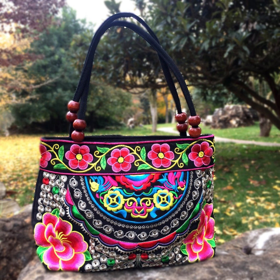 Small Peony Embroidery Ethnic Travel Women Shoulder Bags Handmade Canvas Wood Beads Handbag