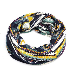 Fashion Baggy Slouchy Four Seasons Cotton Geometric Pattern Adult Hat Infinity Scarf - Voguetide