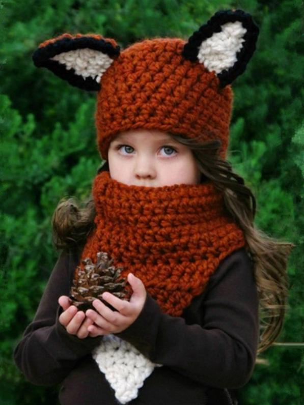 Autumn And Winter Cartoon Children Knit Hat Fox Bib Hat Suit - Voguetide