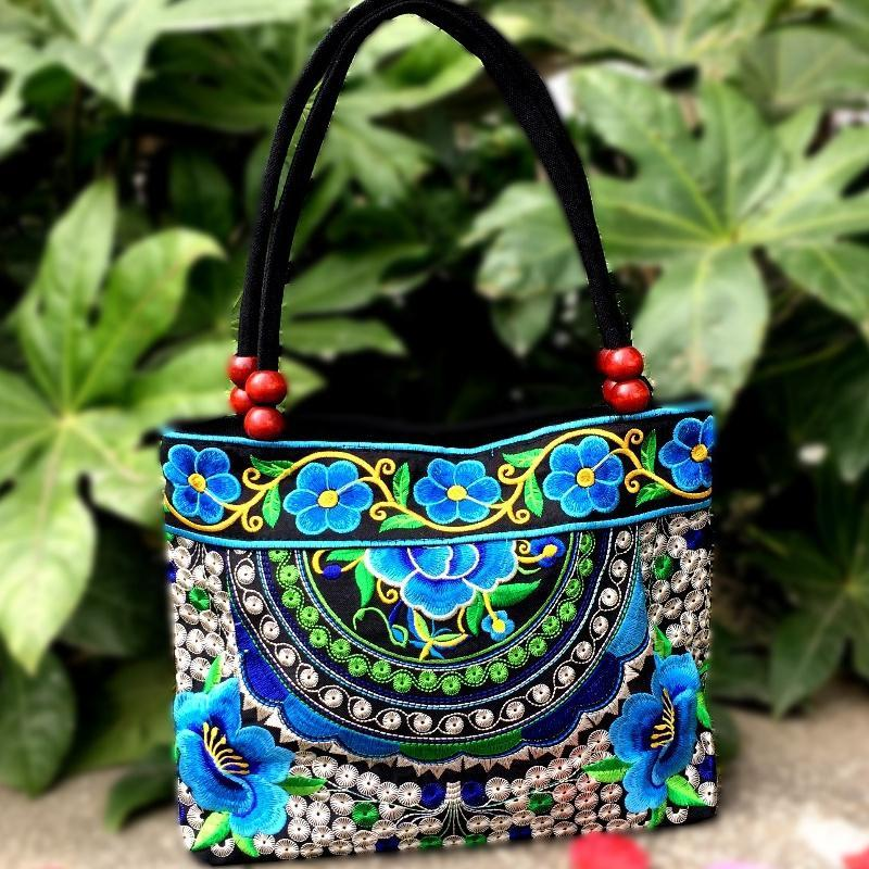 Bayberry Embroidery Ethnic Travel Women Shoulder Bags Handmade Canvas Wood Beads Handbag