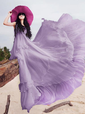 Sweet Chiffon Solid Color Sleeveless Round Neck Big Hem Beach Dress
