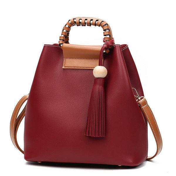 Stylish PU Leather Handbag Bucket Bag Shoulder Bags Crossbody Bags For Women