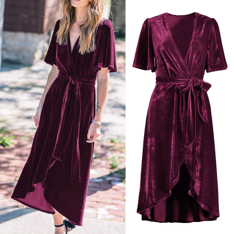Velvet V Neck Short Sleeve Irregular Belted Loose Casual Maxi Dress