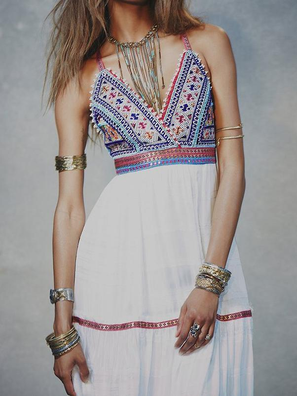 Summer Arrival Bohemia style Beaded gold silk embroidery harness dress