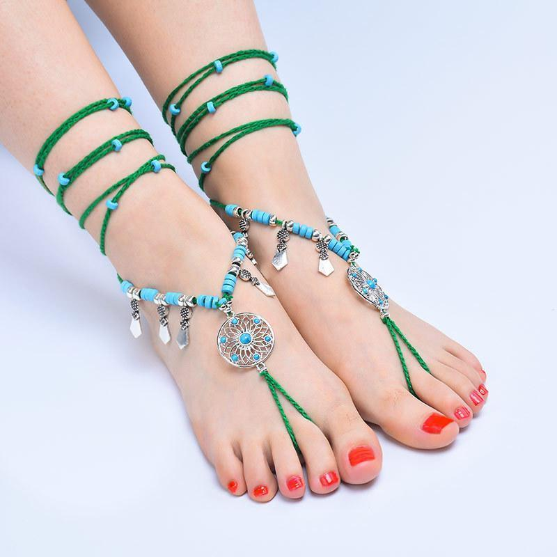 Bohemian ethnic style beach bikinis long cotton line with anklet - Voguetide