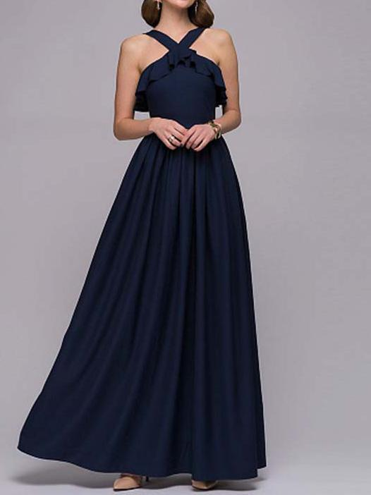Spring new dress long hanging neck dress Slim evening fashion halter dress