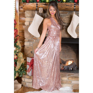 Sexy Sequin Deep V Neck Back Cross Evening Party Maxi Dress