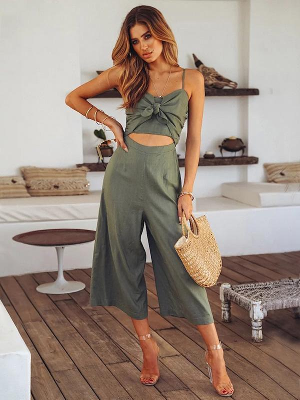Spaghetti Strap Solid Color Wide Leg Pants Jumpsuit Romper