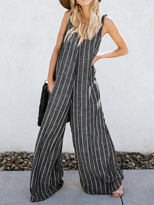 Spring and autumn striped stitching wide leg sleeveless jumpsuit