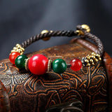 Ethnic Nepal Natural Stone Beaded Rope Woven Bracelet Jewelry