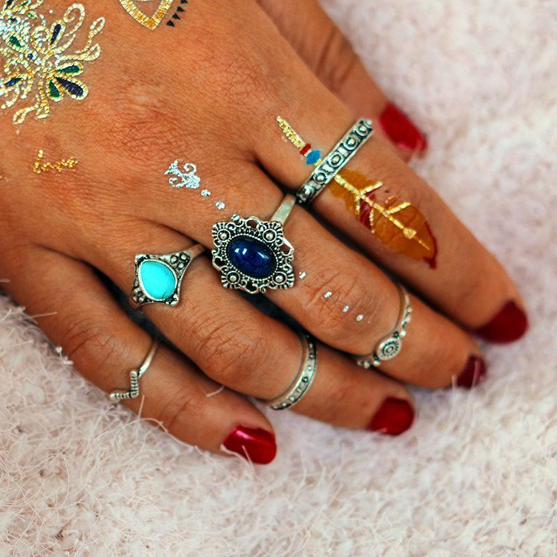 Vintage Bohemian Knuckle Ring Set