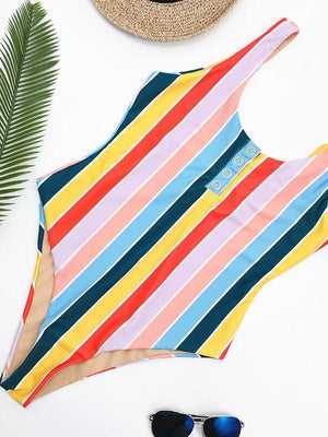 Summer Beach Stripes High Waist One-piece Swimwear