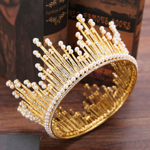 Baroque Crystal Tiaras Crowns Pearl Handmade Bridal Round Crowns Headwear Jewelry
