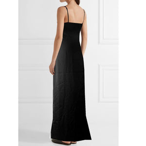 Summer V-Neck Sling Floor Long Section Bottoming Side Split Solid Color Maxi Dress