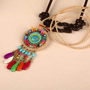 Hand-woven Folk Style Tibet Turquoise Spike Long Necklace - Voguetide