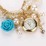 Chic Flower Pearls Bracelet Wrist Watch