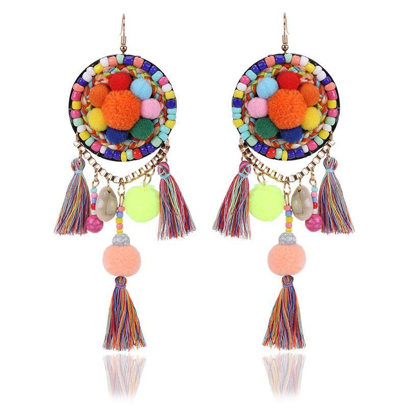 Ethnic Bohemia Dangle Pompom Shell Beads Silk Long Tassel Earrings - Voguetide