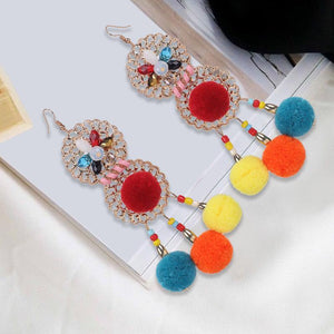 Colorful Ethnic Bohemia Flower Pom Beads Earrings - Voguetide