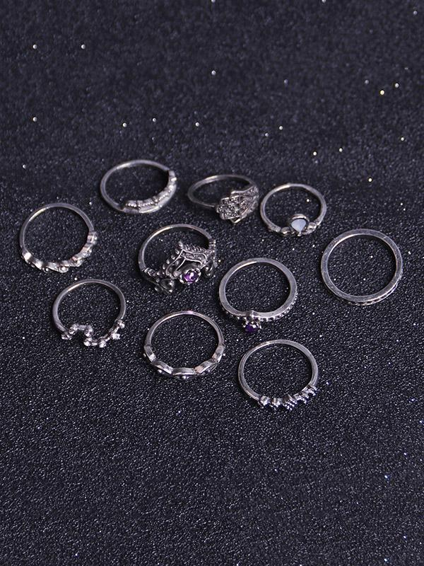 10Pcs Vintage Crown Rings Accessories - Voguetide