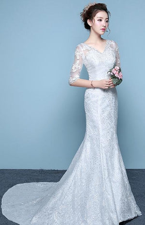 Sleeve Slim Waisttail Fishtail Tail Wedding Dress