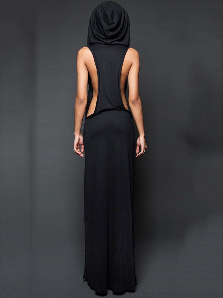Sleeveless Backless With Hat Maxi Dress