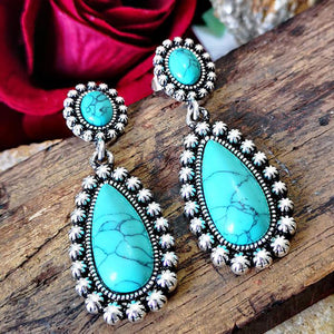 Bohemian Flower Turquoise Vintage Earrings Jewelry