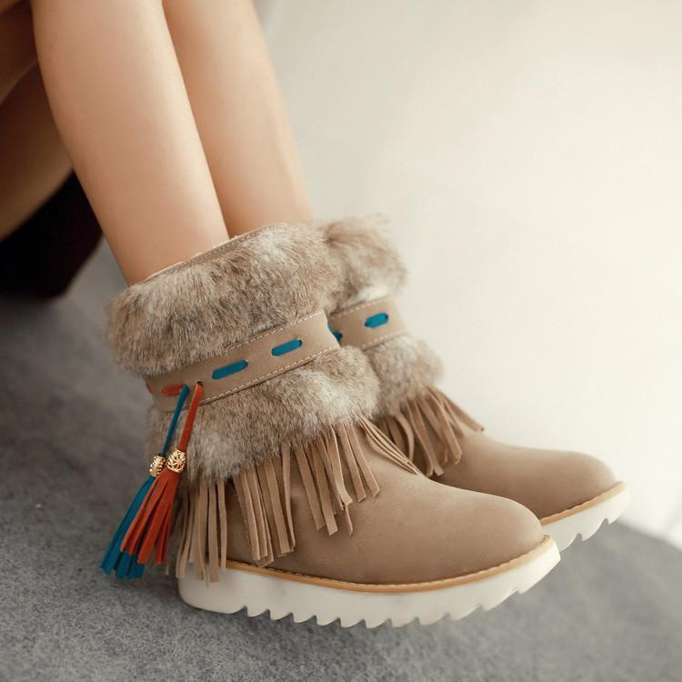 Warm Thickness Tassels Solid Color Round Toe Snow Ankle Boots