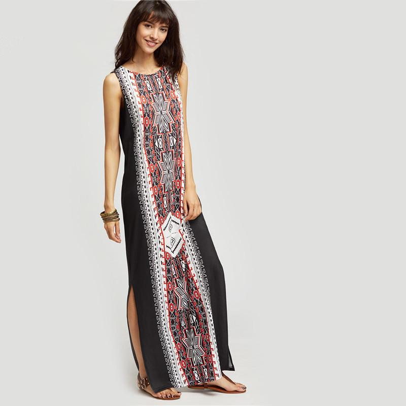 Stylish Ethnic Style Printed Sleeveless Maxi Dresses