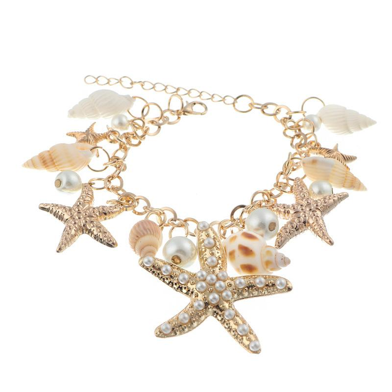 Stylish Conch Starfish Summer Beach Bracelet Jewelry