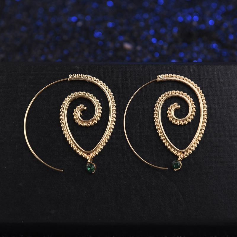 Exaggerated Retro Style Boho Hippy Spiral Earrings - Voguetide