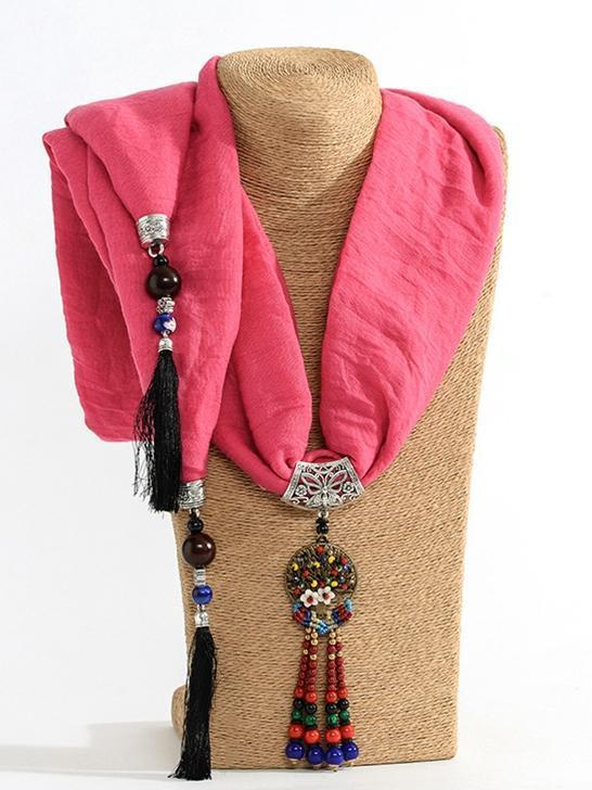 Autumn And Winter New Fringed Linen Cotton Solid Color Bohemian Shawl Scarf - Voguetide
