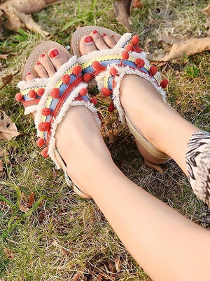 Summer Boho National Style Wave Colorful Pom Sandals