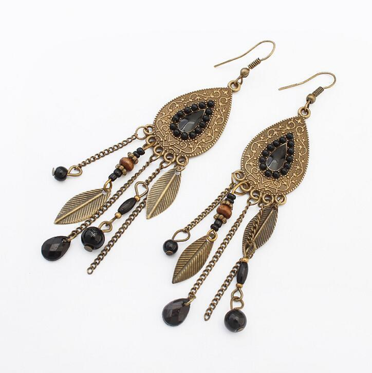 Exaggerated Vintage Metal Leaves Beads Tassel Earrings