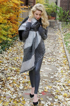 Autumn Raw Edge Beveled Design Thick Plaid Long Warm Scarf Shawl - Voguetide