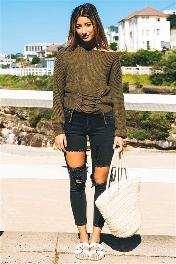 Solid Color Lace Up Pullover Sweater