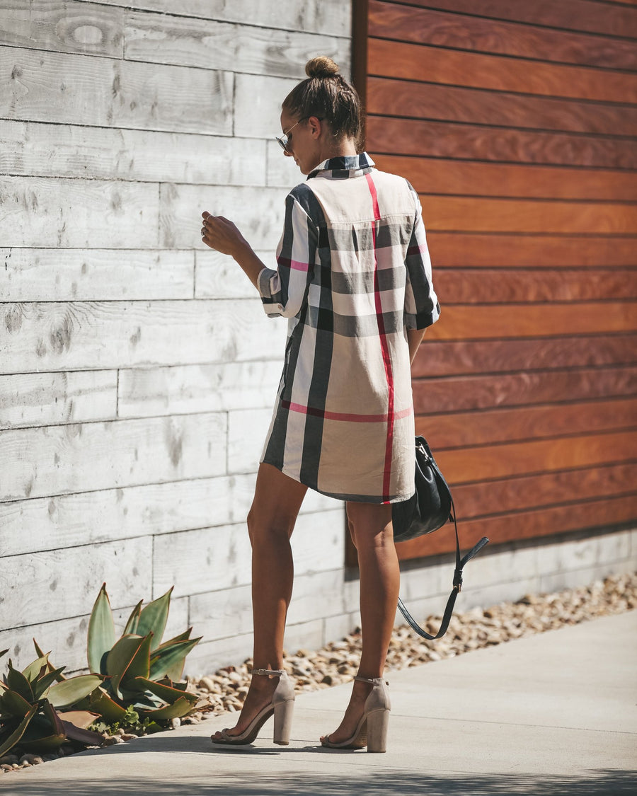 Casual Plaid Print Long Sleeve Mini Dress