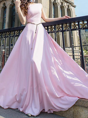 Solid Color Sleeveless Round Neck Evening Maxi Long Dress