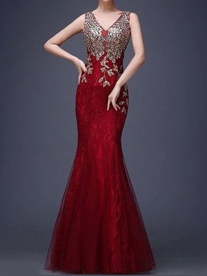 V-Neck Applique Mermaid Evening Dress